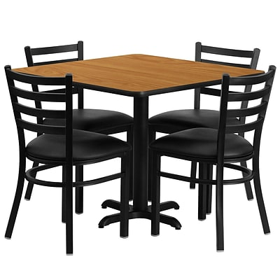Flash Furniture 36 Square Natural Laminate Table Set With 4 Ladder Back Metal Chairs, Black