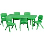 Flash Furniture 24W x 48L Height Adjustable Rectangular Plastic Activity Table Set, Green