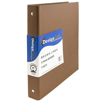 JAM Paper® Premium Linen Textured 3 Ring Binders, 1 Inch, Brown, Sold Individually (751LBR)