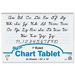 Pacon® 1 Ruled Chart Tablet Writing Paper, Cursive, 24 x 16, 25 Sheets