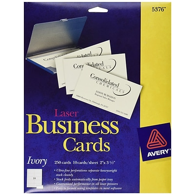 Avery®, Laser Business Cards, Ivory, 2 x 3 1/2, 250/Cards