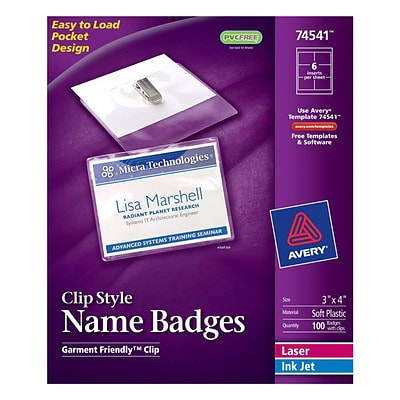 Avery Top Loading Clip Style Name Tags, 3 x 4, 100/Pack