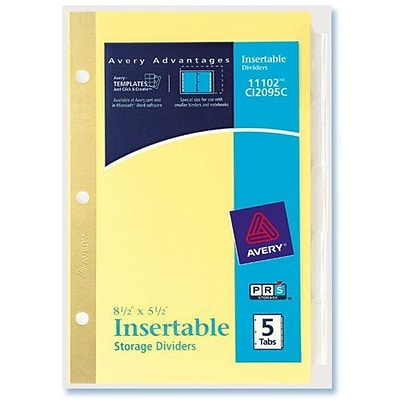Avery Mini Insertable Tab Dividers, 5-1/2 x 8-1/2, 5 Clear Tabs, 1 Set (11102)