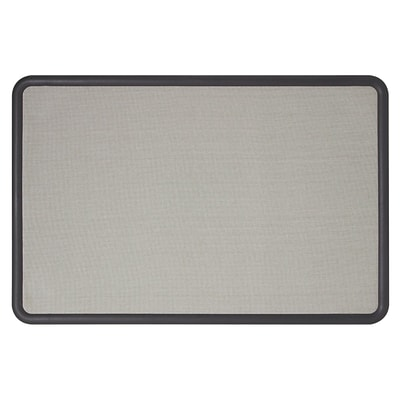 Quartet® Contour Fabric Bulletin Board, 4 x 3, Black Frame, Gray Fabric
