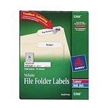 Avery® 5366 White TrueBlock File Folder Labels; 2/3x3-7/16, 1500/Box