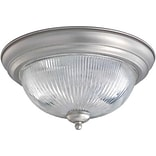 Aurora® 6 1/4 x 13 1/4 75 W 2 Light Flush Mount W/Clear Ribbed Glass Shade, Brushed Nickel