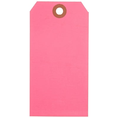 Fluorescent Pink Shipping Tags, #5, 4-3/4 x 2-3/8, 1000/Case