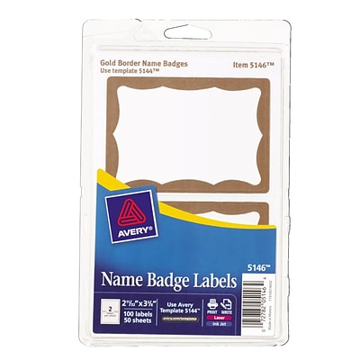 avery print or write name tags gold border 2 11 32 x 3 3 8 100