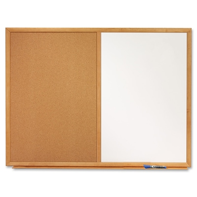 Quartet® Standard Combination Whiteboard/Cork Bulletin Board, 4 x 3, Oak