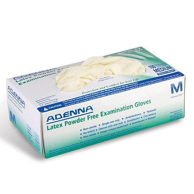 Adenna Gold Powder Free Cream Latex Gloves, Medium, 100/Box (AGLD108265)