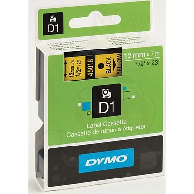 Dymo® D1 Series Label Tape, 1/2 x 23, Black on Yellow