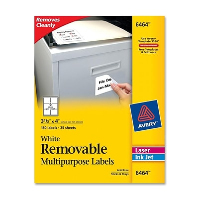 Avery® 6464 Removable Inkjet/Laser Labels, 3-1/3 x 4, 150/Pack