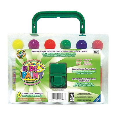 Crafty Dab Non-toxic Kids Paint With Carrying Case , 6/Pack (CV-75262) 2 PK/BD