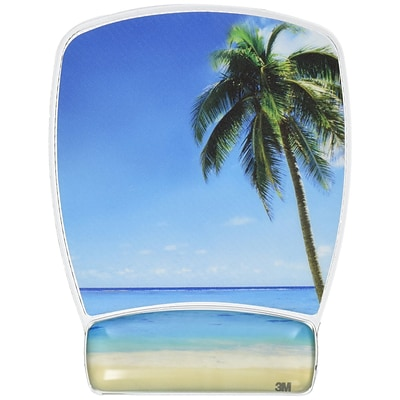 3M™ Mousepad Wristrests, Clear Gel, Beach Design, Antimicrobial