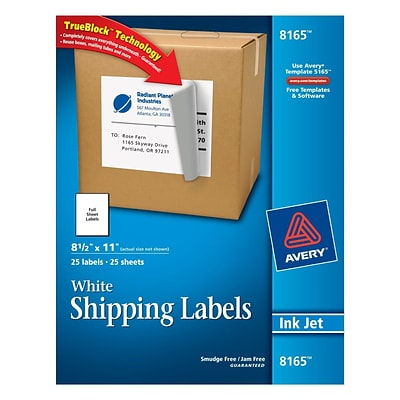 avery 8 1 2x11 white inkjet labels quill com