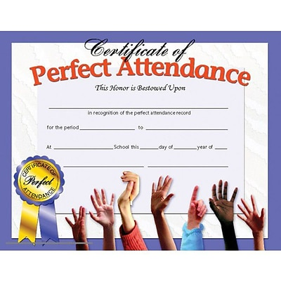 Certificate of Perfect Attendance, 8-1/2 x 11, 30/pkg