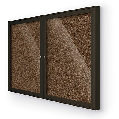 Best-Rite Enclosed Rubber Tak Bulletin Board, Coffee Finish Frame, 4 x 3