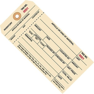 (7000-7999) Inventory Tags 1; 6 1/4 x 3 1/8, Part Stub Style #8, 1, 000/Case