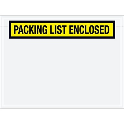 Packing List Envelope, 4 1/2 x 6 - Yellow Panel Face, Packing List Enclosed, 1000/Case