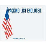 Packing List Envelope, 7 x 5 1/2 - U.S.A. Flag Panel Face, Packing List Enclosed, 1000/Case