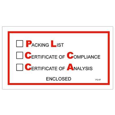 Envelopes, 5 1/2 x 10 - Full Face, Packing/Cert of Compliance/Cert. of Analysis Enclosed, 1000/Case