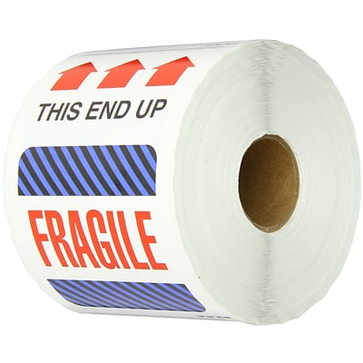 Tape Logic® Labels, This End Up - Fragile, 4 x 6, Multiple, 500/Roll