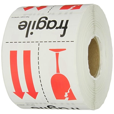Tape Logic® Labels, Fragile, 3 x 4, Red/White/Black, 500/Roll (IPM319)