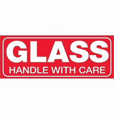 Tape Logic® Labels, Glass - Handle With Care, 1 1/2 x 4, Red/White, 500/Roll