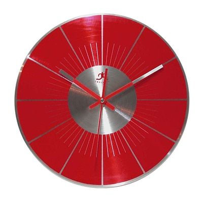 Infinity Instruments Modern Red Brushed Aluminum Wall Clock, 11.5 Diameter