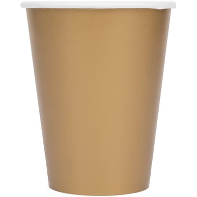Creative Converting Glittering Gold 9 oz. Hot/Cold Drink Cups, 24/Pack