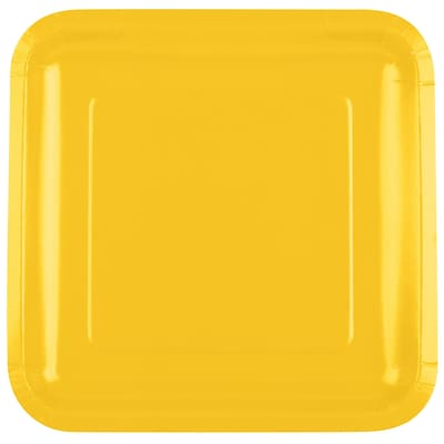 Creative Converting School Bus Yellow 9 Square Dinner Plates, 18/Pack