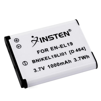 Insten® 392615 3.7 VDC 1000mAh Rechargeable Li-ion Battery For Nikon EN-EL19; White