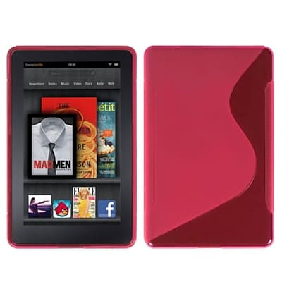 Insten® Candy Skin Cover For Kindle Fire, Hot-Pink/S-Shape (1016292)