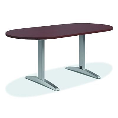 HON Preside Laminate Table Racetrack Flat Edge TLeg W - Hon racetrack conference table