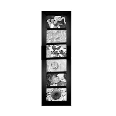 "Malden Berkeley 6-Opening Beveled Edge Wood Collage Picture Frame, Black, 4"" x 6"""