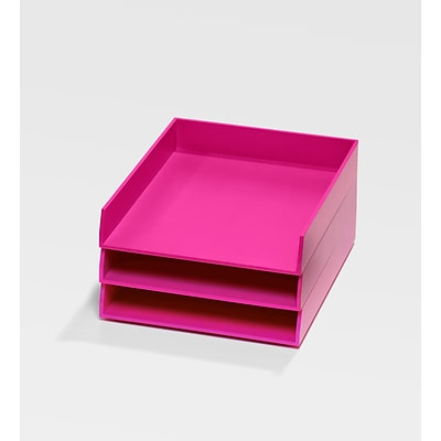Bindertek Bright Wood Desk Stackable Letter Paper 3 Tray Set, Pink (BTSET1-PK)