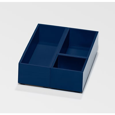 Bindertek Bright Wood Desk Organizing System Storage Box Set; Navy (BTSBOX-NV)