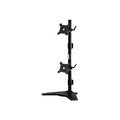 Amer Mounts Stand Based Vertical Dual Monitor Mount for Two 15 - 24 Flat Panel Display; Black (AMR2SV)