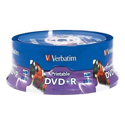 Verbatim Inkjet/Hub Printable Recordable Disc; 4.7GB, AZO DVD+R, 25 Pack Spindle
