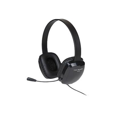 Cyber Acoustics AC-6008 Over-the-Head Stereo Headphones with Mic; Black