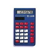 Texas Instruments TI-108 Elementary Calculator; Blue/Red/White