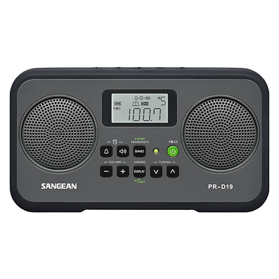 Sangean PR-D19 1.4 W AM/FM Digital Clock Radio; Black/Gray