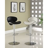 Hokku Designs Vince Leatherette Adjustable Height Swivel Bar Stool with Cushion; White