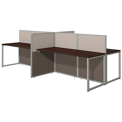 Bush Business Furniture Easy Office 60W 4 Person Straight Desk Open Office, Mocha Cherry(EOD660MR-03K)