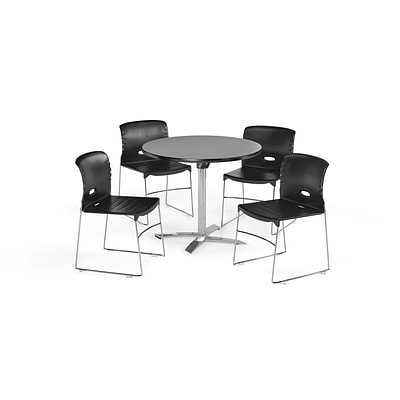 OFM 36 Round Laminate MultiPurpose FlipTop Table & 4 Chairs, Gray Table/Black Chair (PKGBRK0700005)