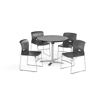 OFM 42 Round Laminate MultiPurpose FlipTop Table & 4 Chairs, Gray Table/Gray Chair PKGBRK0820006