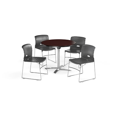 OFM 36 Sq Laminate MultiPurpose FlipTop Table & 4 Chairs, Mahogany Table/Gray Chair PKGBRK0760010