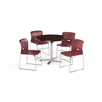 OFM 42 Round Laminate MultiPurpose FlipTop Table & 4 Chairs, Mahogany/Burgundy Chair PKGBRK0820011