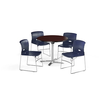 OFM  42 Square Laminate MultiPurpose Table w/4 Chairs, Mahogany Table/Navy Chair (PKG-BRK-112-0012)