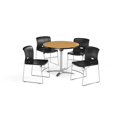 OFM 36 Round Laminate MultiPurpose FlipTop Table & 4 Chairs, Oak Table/Black Chair (PKGBRK0700013)
